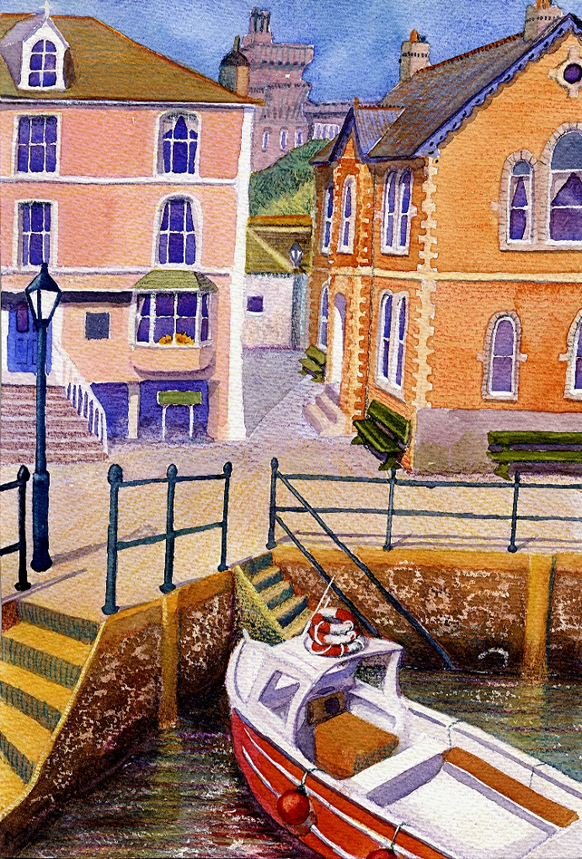 Fowey, Cornwall art print A4 size, from a Watercolour Painting, Alex Pointer