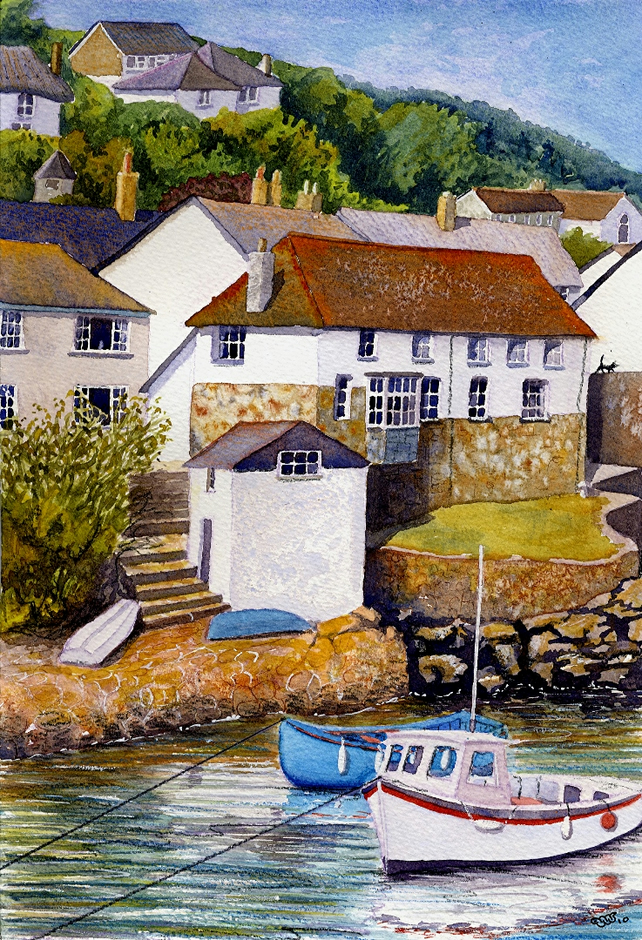 Coverack, Cornwall art print A4 size, from a Watercolour Painting, Alex Pointer
