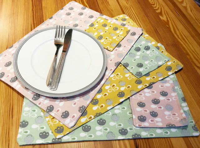 Modern Placemats and Coasters, Contemporary, Handmade, Table Linen
