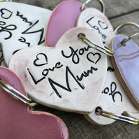 Love You Mum Heart Keyring