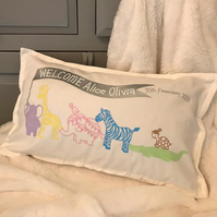 personalised welcome new baby throw cushion