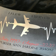 Personalised keepsake cushion for airline employees