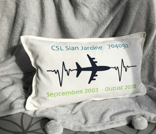 Personalised airline employees keepsake cushion