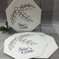 Christmas greeting cards set of 3 with holly sprig