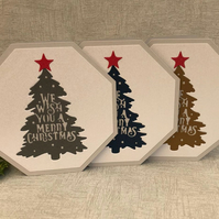 3 Christmas tree quote cards