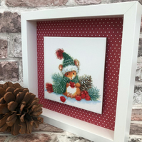 Cute christmas mouse floating tile frame,box frame,christmas decoration
