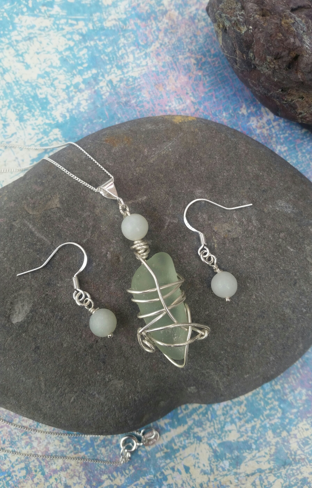Handmade Sterling Silver, Seafoam Sea Glass and Amazonite Necklace & Earrings.