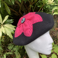 Black Wool Felt Beret with Pink Flower