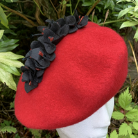 Red Felt Beret with Black Hydrangea Spray