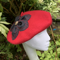 Red Felt Beret with Black Flower