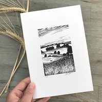 Harvest Hare: Original, hand printed lino cut by Suffolk printmaker Beth Knight