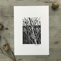Snail and seed heads: Hand printed lino cut by Suffolk artist Beth Knight