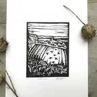 Field view: Hand printed lino cut print by Suffolk artist Beth Knight.