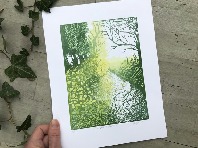 Riverbank Reflections: Hand printed lino cut by Suffolk artist Beth Knight.
