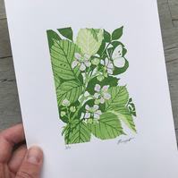 Bramble: Original, hand printed lino cut print by Suffolk artist Beth Knight