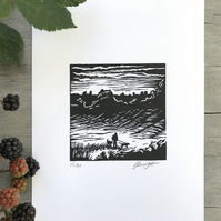 Dog walk: original lino cut by Suffolk artist Beth Knight.