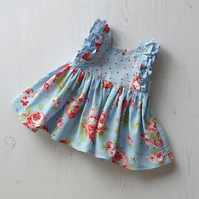 Age 0-3 months Handmade Clara Blue and Red Floral and Spot Ruffle Dress