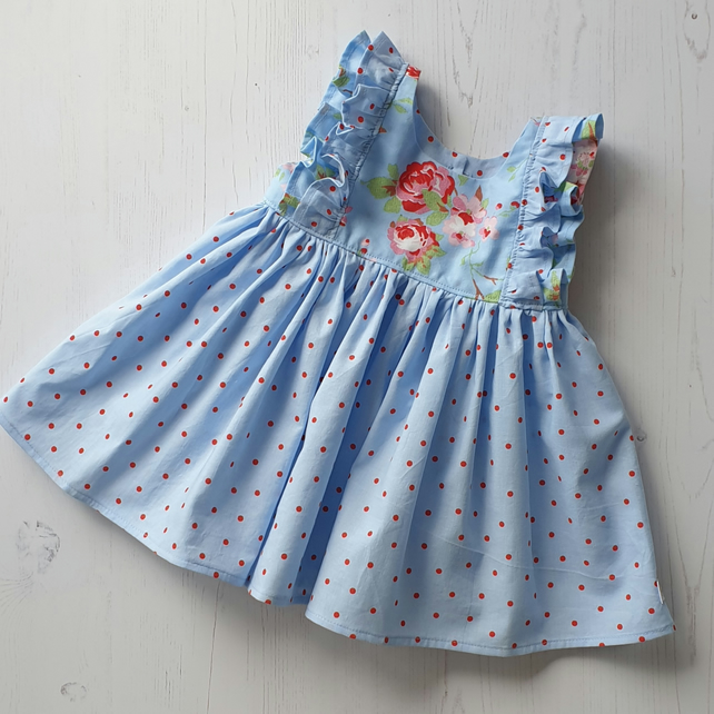 Age 12-18 months Handmade Clara Blue and Red Floral and Spot Ruffle Dress
