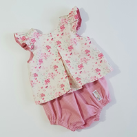 Handmade Baby Piper Top & Bloomer Set Age - 0-3 months