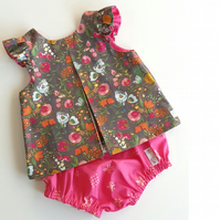 Age 6-12 months Handmade Baby Piper Top & Bloomer Set - Boho Kisses