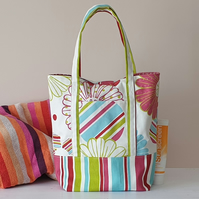Handmade Tote Bag Bright Floral Stripe