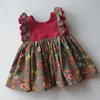 Handmade Clara Baby Dress in Boho Sangria Age 6-12 months