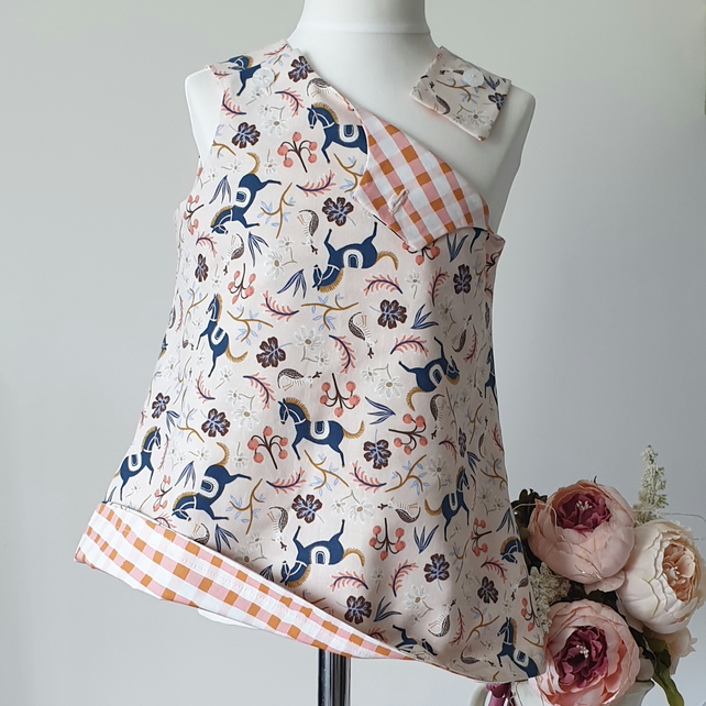 Handmade Joleen Reversible Pinafore Dress in Horses - Age 3-4 years