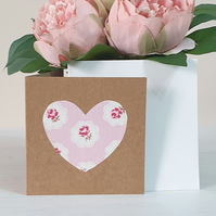 Handmade Textile Heart Card - Pink Floral