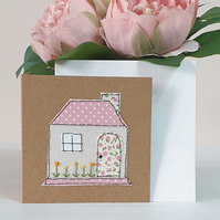 Handmade Textile New Home Cottage Card
