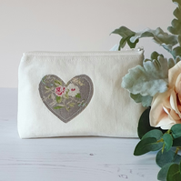 Medium Handmade Shabby Chic Style Floral Heart Zip Pouch
