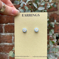 Floral Stud Earrings - Blue Floral Earrings - Pastel Earrings