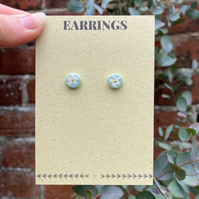 Floral Stud Earrings - Green Floral Earrings - Pastel Earrings