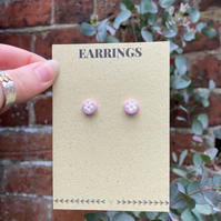 Floral Stud Earrings - Pink Floral Earrings - Pastel Earrings