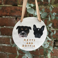 Personalised Dog Wall Hanging - Pet Wall Hanging - Double Dog