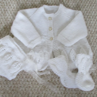 Hand Knitted Baby Clothes ,Matinee Coat, Matching Bonnet & Booties.