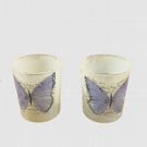 Glass candle holders x 2, Decoupage Butterfly.
