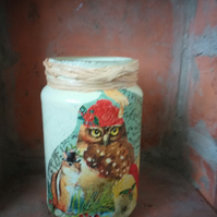 'Festive owl's'  Decoupage Candle holder,