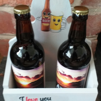 Beer bottle decorated holder ' Love you Beery Much'