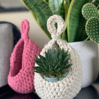 Crochet Hanging Basket - Hanging Storage Basket - Home Decor Handmade