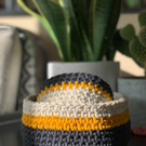 Set of 2 Crochet Basket - Crochet Basket - Handmade -Grey, Yellow and Ecru.