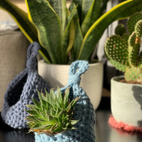 Recycled Denim Crochet Hanging Basket - Hanging Storage Basket - Handmade