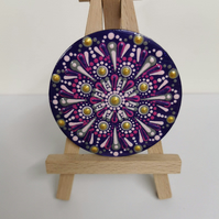 Hand painted pink and gold mandala magnet