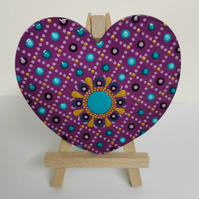 Hand painted pink and turquoise mandala magnet