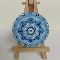 Hand painted blue and white mandala magnet