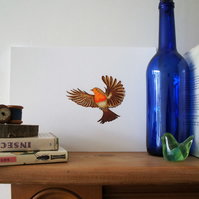 Flying Robin A4 Giclee Print