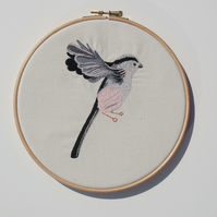 Long Tailed Tit free motion detailed embroidery