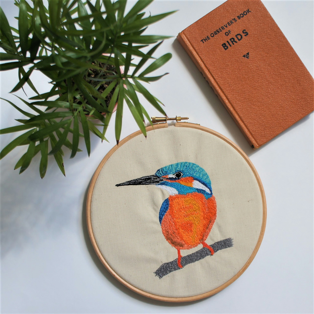 Kingfisher original embroidery, one of a kind, perfect for bird lovers