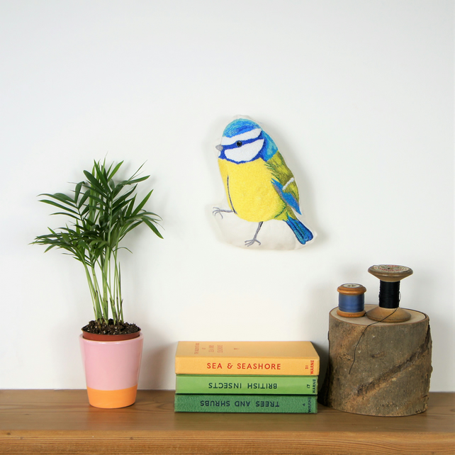 Blue Tit embroidery, original wall art