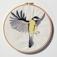 Great Tit free motion embroidery - original wall art