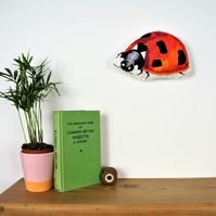 Ladybird embroidery wall art, free motion embroidery